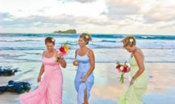 Pastel Bridesmaids on Beach in Noosa at Sunset